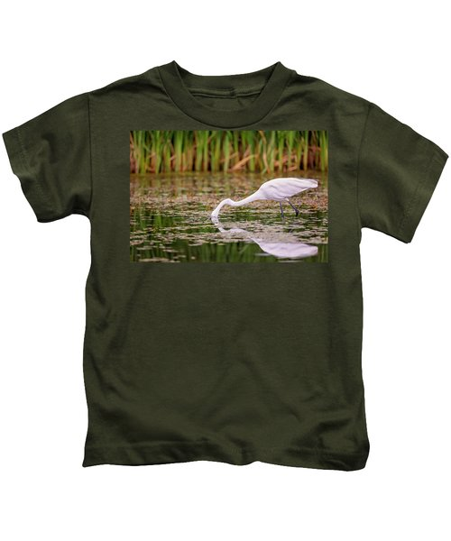 White, Great Egret Kids T-Shirt