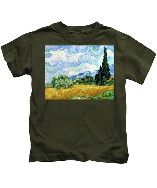 Wheat Field With Cypresses Kids T-Shirt