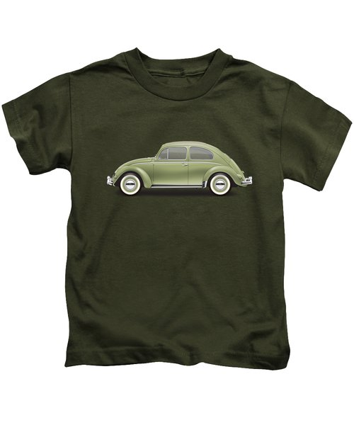1957 Volkswagen Deluxe Sedan - Diamond Green Kids T-Shirt