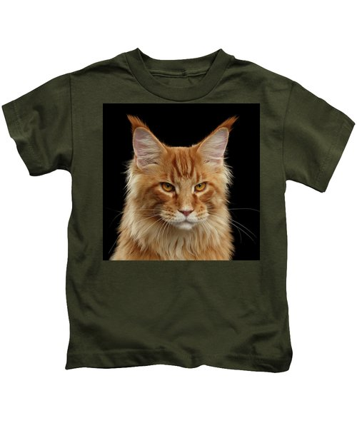 Angry Ginger Maine Coon Cat Gazing On Black Background Kids T-Shirt