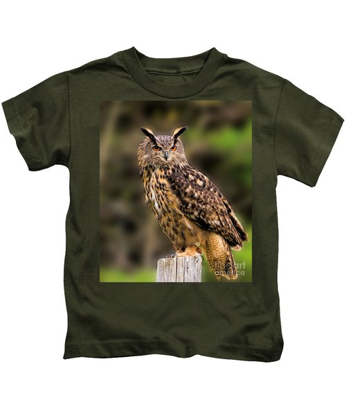 Eurasian Eagle Owl Perched On A Post Kids T-Shirt