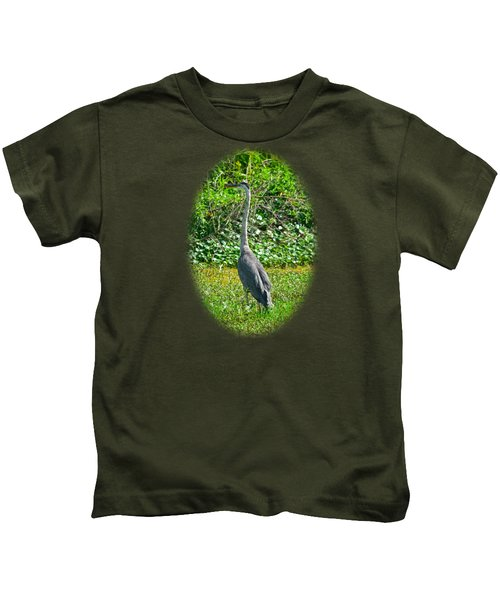 Great Blue Heron Kids T-Shirt by Deborah Good