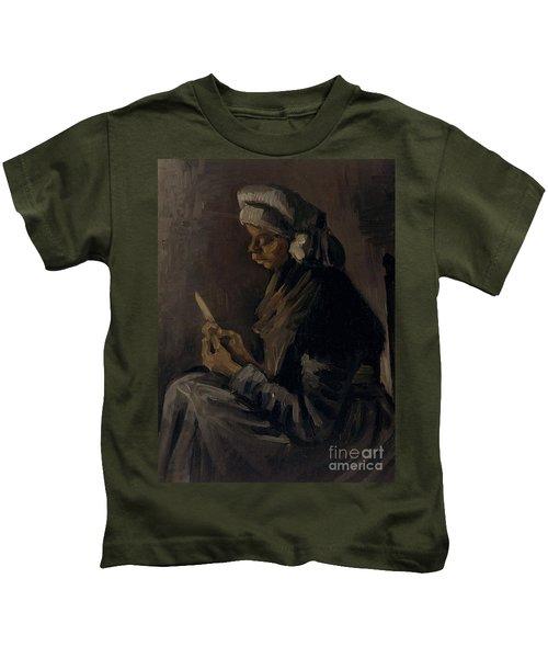 The Potato Peeler, 1885 Kids T-Shirt by Vincent Van Gogh