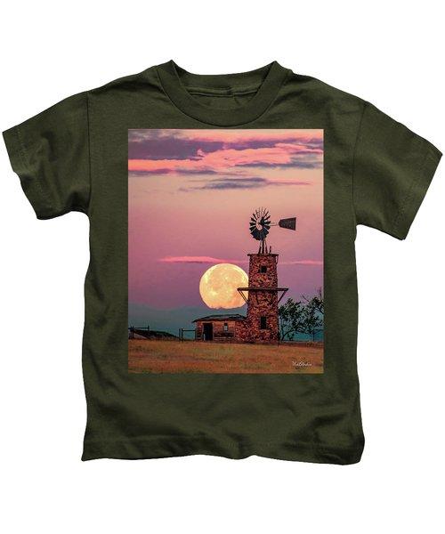 Windmill At Moonset Kids T-Shirt
