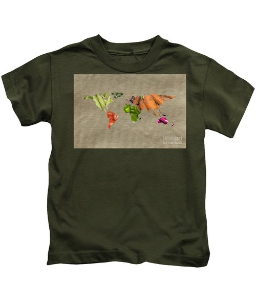 World Fruits Vegetables Map Kids T-Shirt