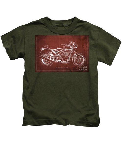 2012 Norton Commando 961 Sport Blueprint Classic Motorcycle Red Background Kids T-Shirt