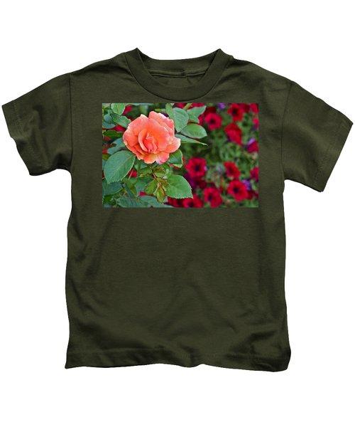 2015 Fall Equinox At The Garden Sunset Rose And Petunias Kids T-Shirt