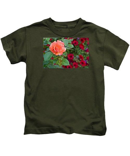 2015 Fall Equinox At The Garden Sunset Rose And Petunias Kids T-Shirt