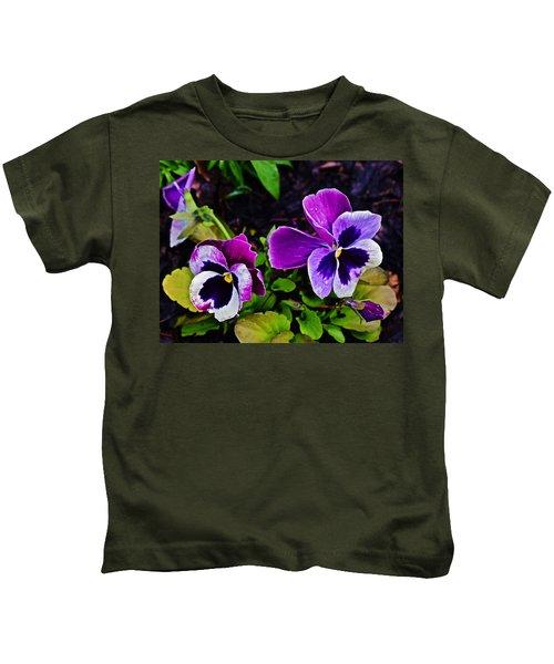2015 Spring At Olbrich Gardens Violet Pansies Kids T-Shirt