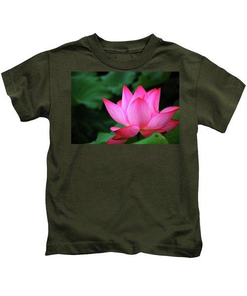 Blossoming Lotus Flower Closeup Kids T-Shirt