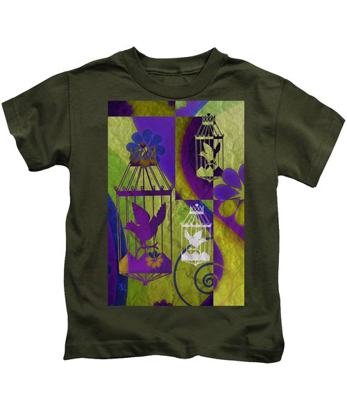 3 Caged Birds Kids T-Shirt