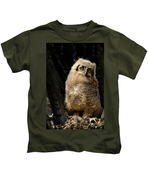 Great Horned Owlet Kids T-Shirt
