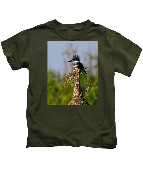 Female Belted Kingfisher Kids T-Shirt