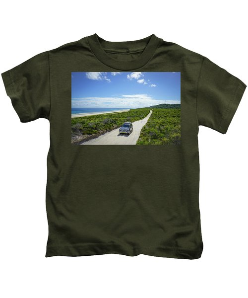 4wd Car Exploring Remote Track On Sand Island Kids T-Shirt