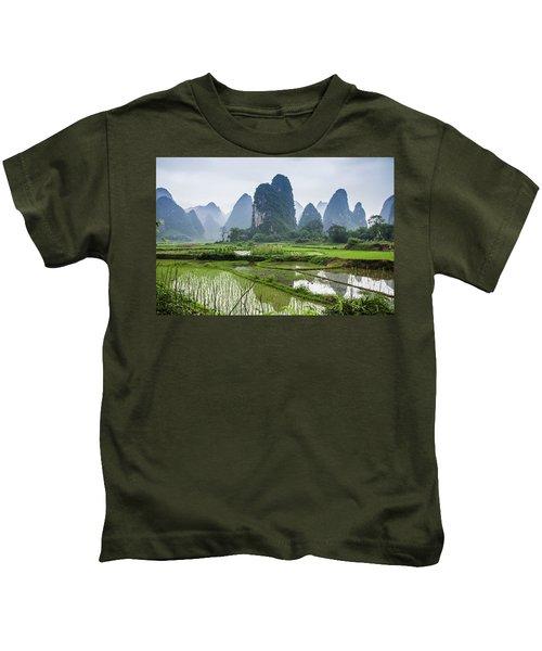 The Beautiful Karst Rural Scenery In Spring Kids T-Shirt