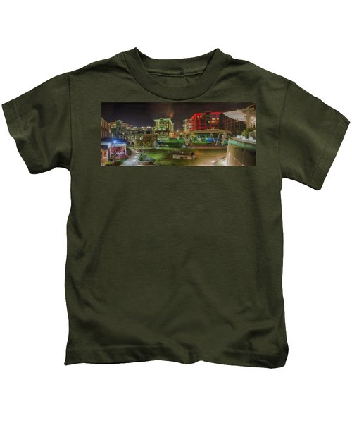 Greenville South Carolina Near Falls Park River Walk At Nigth. Kids T-Shirt