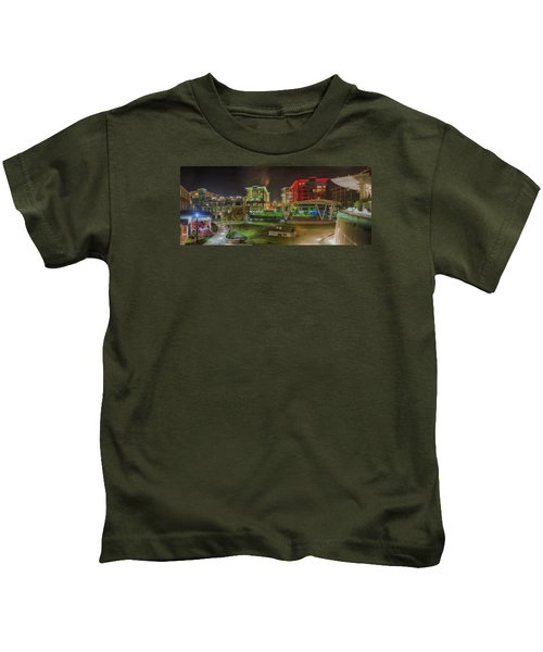 Greenville South Carolina Near Falls Park River Walk At Nigth. Kids T-Shirt