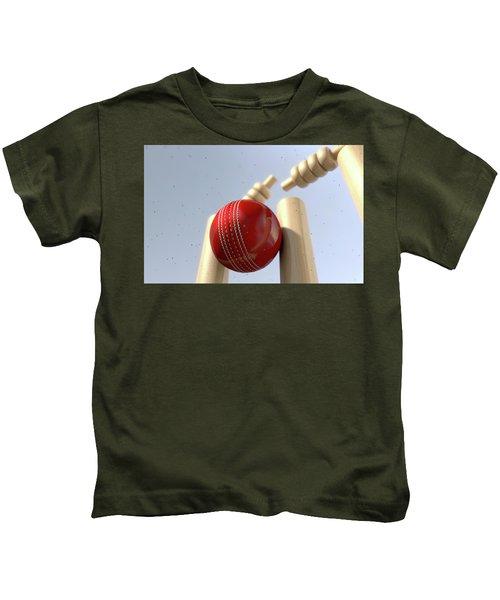 Cricket Ball Hitting Wickets Kids T-Shirt by Allan Swart