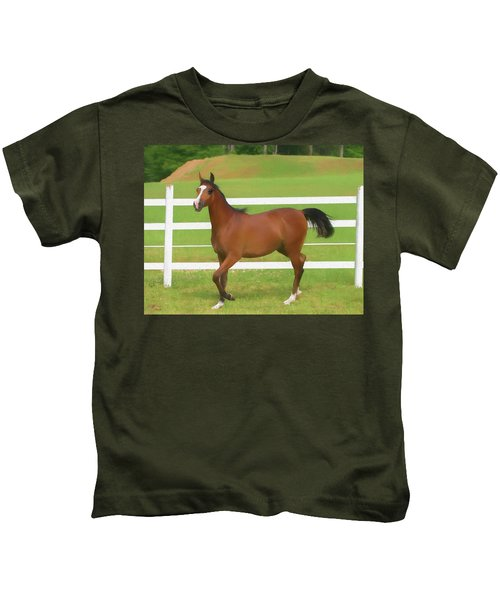 A Beautiful Arabian Filly In The Pasture. Kids T-Shirt