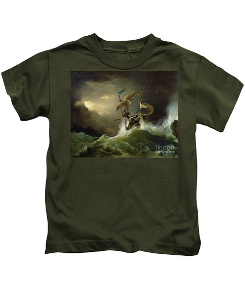 A First Rate Man Of War Driven Onto A Reef Of Rocks, Floundering In A Gale  Kids T-Shirt