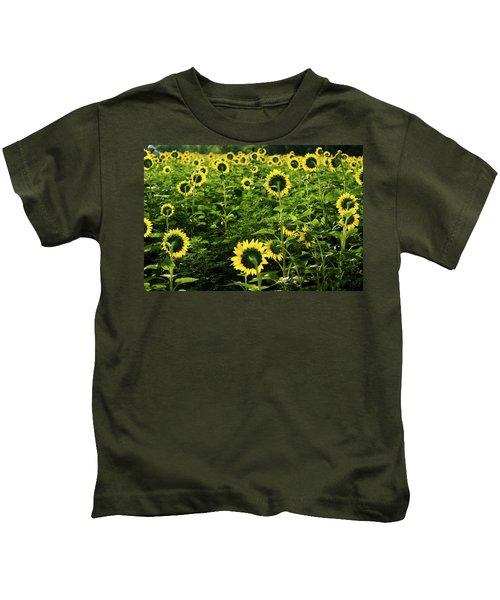 A Flock Of Blooming Sunflowers Kids T-Shirt