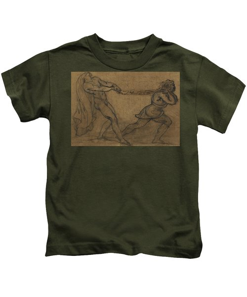 A Male Nude Pulled By Another Male Kids T-Shirt