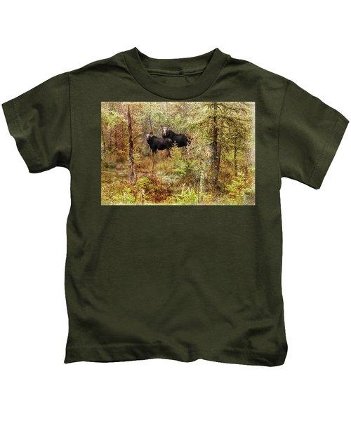 A Mother And Calf Moose. Kids T-Shirt
