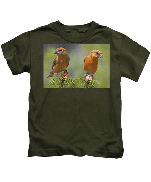 A Pair Of Male Red Crossbills - Painted Kids T-Shirt