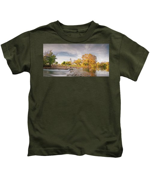 A Peaceful Fall Afternoon At Rio Vista Dam Park - San Marcos Hays County Texas Hill Country Kids T-Shirt