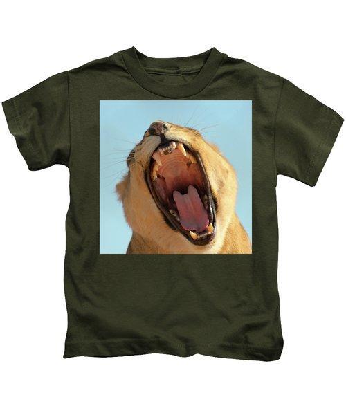 A Portrait Of An African Lion Female Roaring Kids T-Shirt