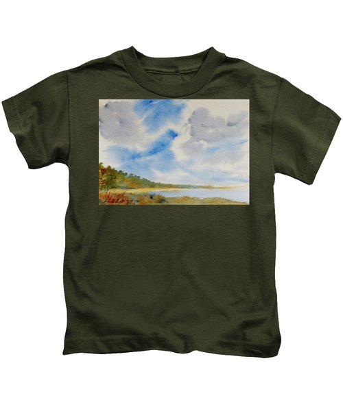 A Secluded Inlet Beneath Billowing Clouds Kids T-Shirt