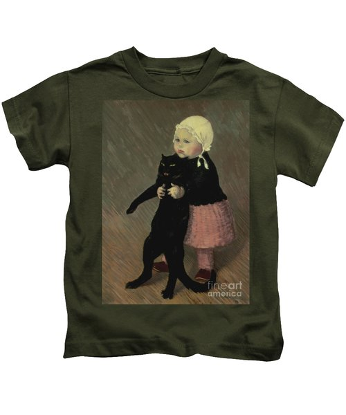 A Small Girl With A Cat Kids T-Shirt