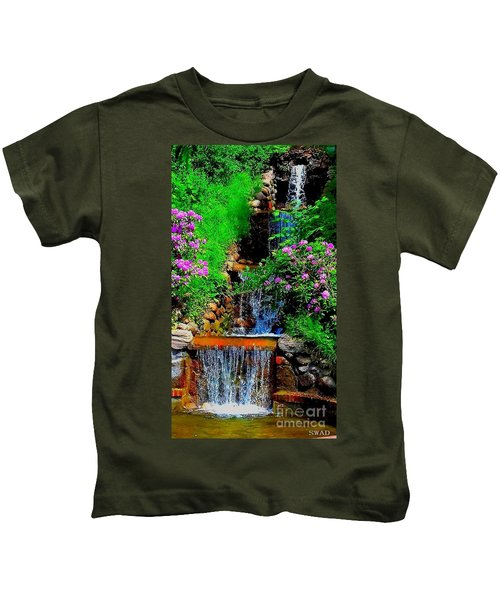 A Small Waterfall In Hbg Sweden Kids T-Shirt