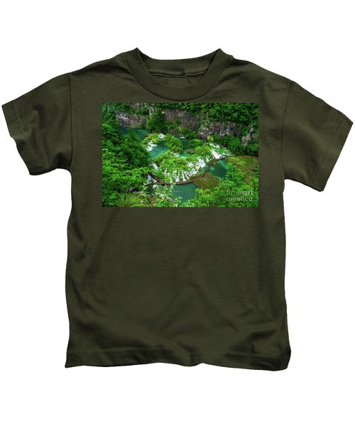 Above The Paths And Waterfalls At Plitvice Lakes National Park, Croatia Kids T-Shirt
