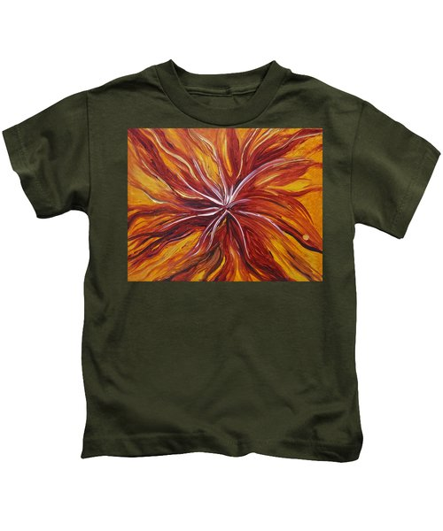 Abstract Orange Flower Kids T-Shirt