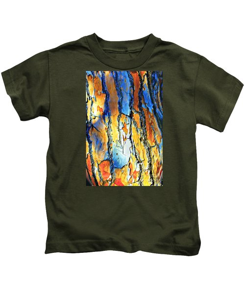 Abstract Saturated Tree Bark Kids T-Shirt