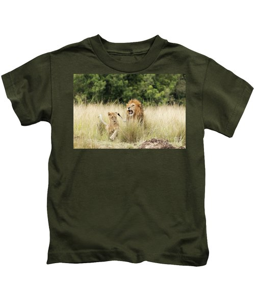 Adult Lion And Cub In The Masai Mara Kids T-Shirt
