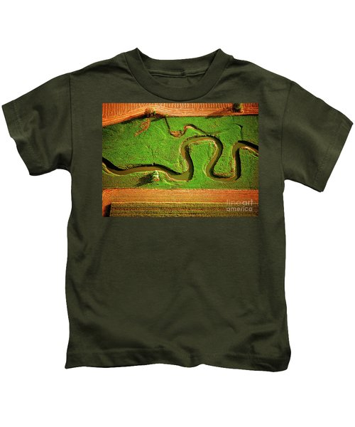 aerial, farm, stream, northern, Illinois, farms, meandering  Kids T-Shirt