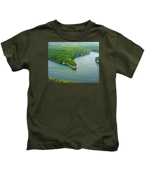 Aerial Image Of  Long Point Cliff Kids T-Shirt
