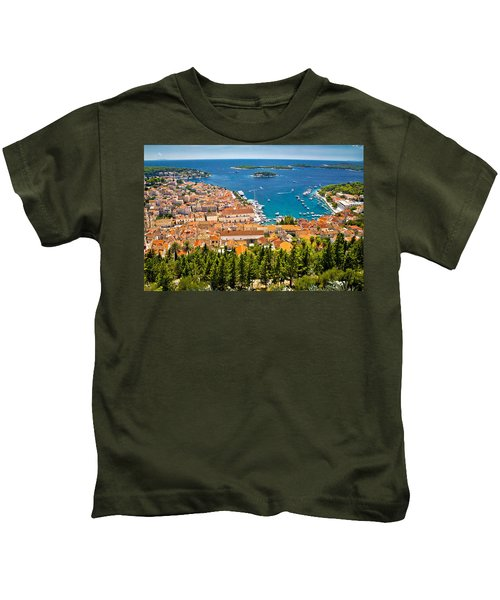 Aerial View Of Hvar Rooftops And Harbor Kids T-Shirt