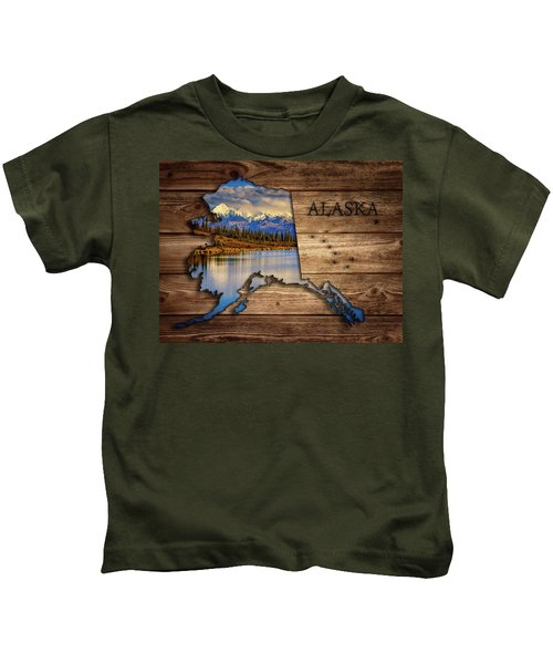 Alaska Map Collage Kids T-Shirt