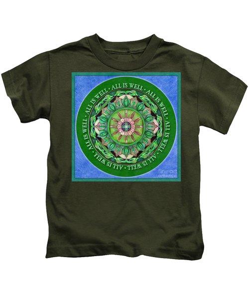 All Is Well Mandala Prayer Kids T-Shirt