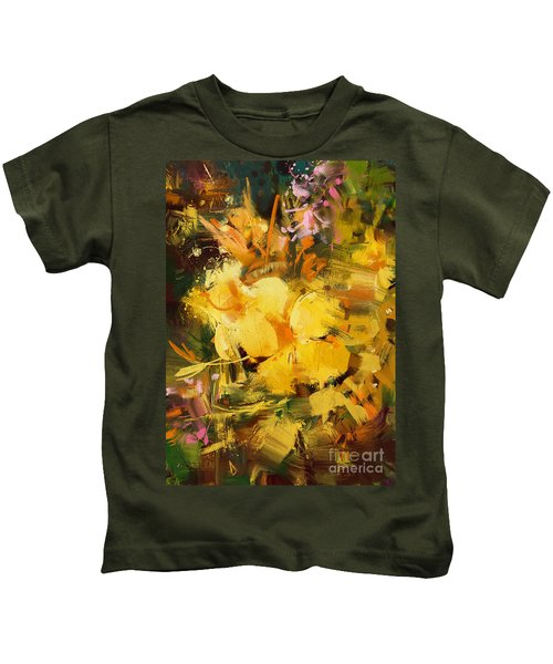 Kids T-Shirt featuring the painting Allamanda by Tithi Luadthong