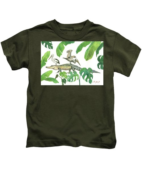 Alligator And Pelicans Kids T-Shirt