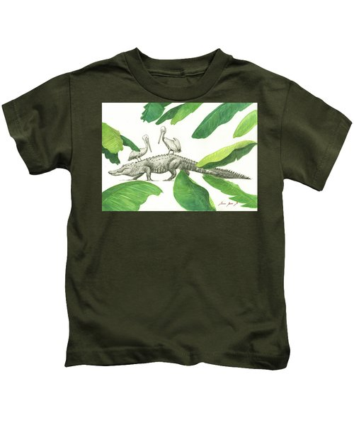 Alligator With Pelicans Kids T-Shirt