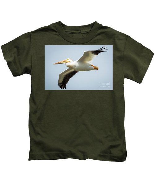 American White Pelican Flyby  Kids T-Shirt