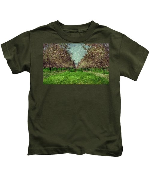An Orchard In Blossom In The Eila Valley Kids T-Shirt