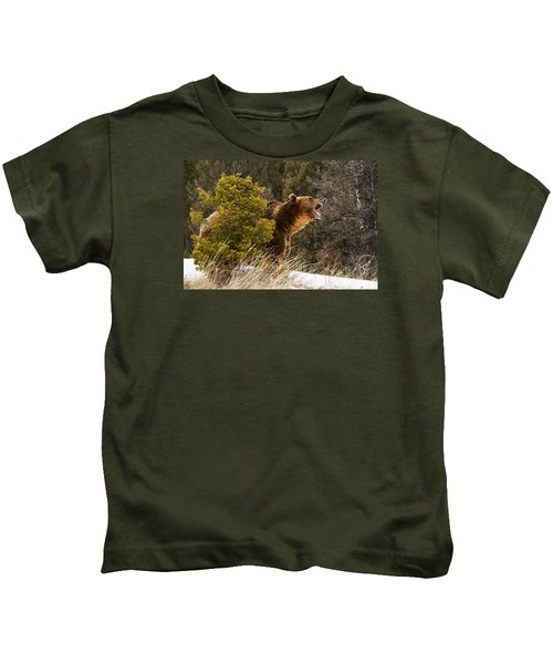 Angry Grizzly Behind Tree Kids T-Shirt