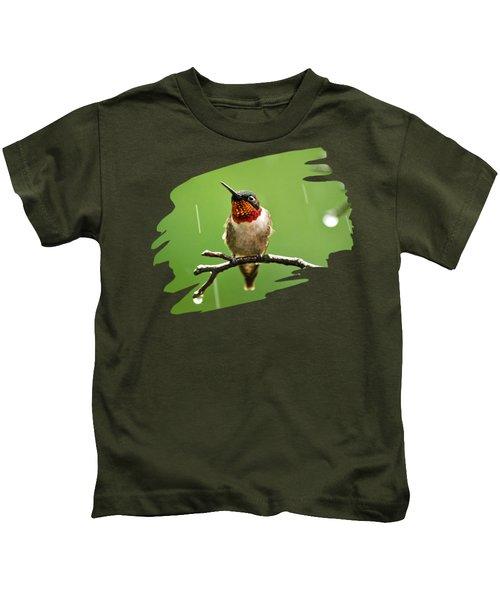 Another Rainy Day Hummingbird Kids T-Shirt by Christina Rollo