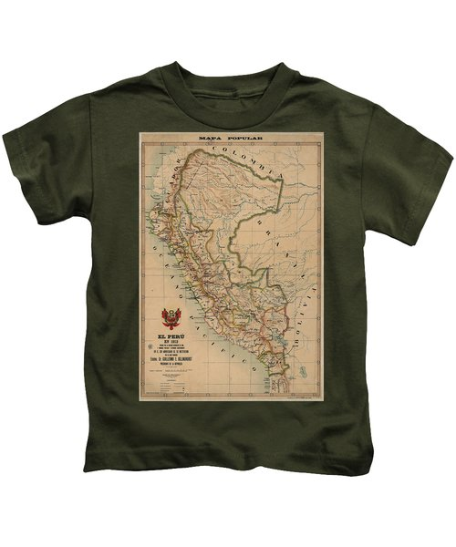 Antique Maps - Old Cartographic Maps - Antique Map Of Peru, South America, 1913 Kids T-Shirt